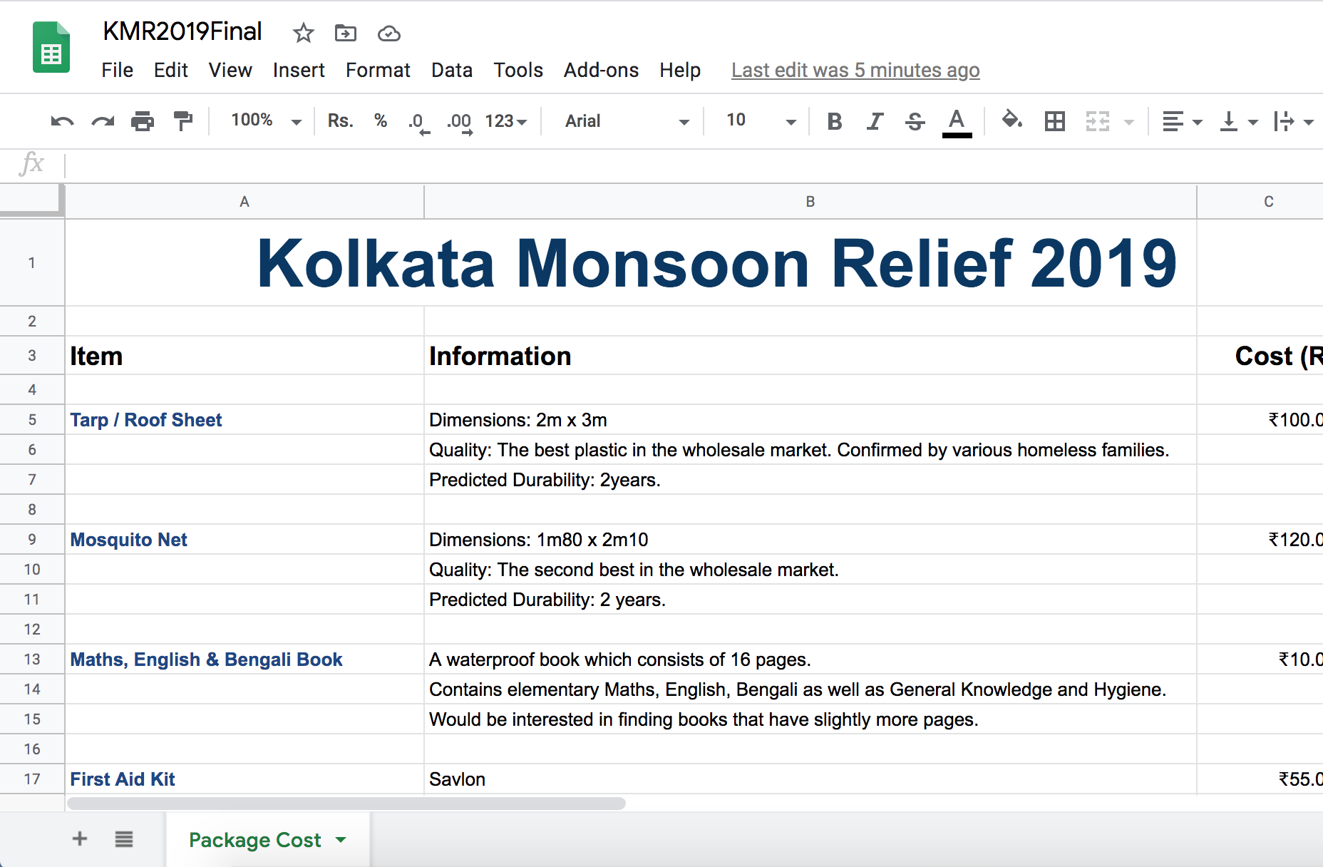 Kolkata Relief 2019 Spreadhseet
